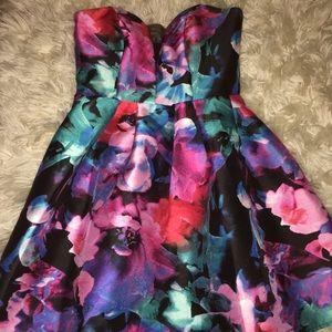 Floral Formal Strapless Dress